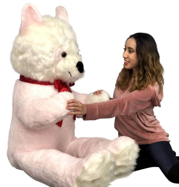Big Plush Pink and White Stuffed Panda Bear, Giant 6 Foot Teddy Bear Huge Soft Plush Animal Made in USA