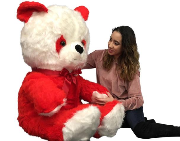 Big Plush Red and White Stuffed Panda Bear, Giant 6 Foot Teddy Bear Huge Soft Plush Animal Made in USA, Valentine Big Bear