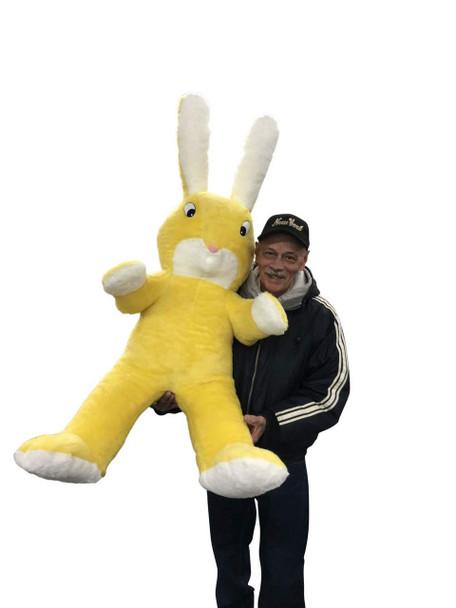 American Made Giant Stuffed Yellow Bunny 60 Inch Soft Big Plush 5 Foot Rabbit Made in USA