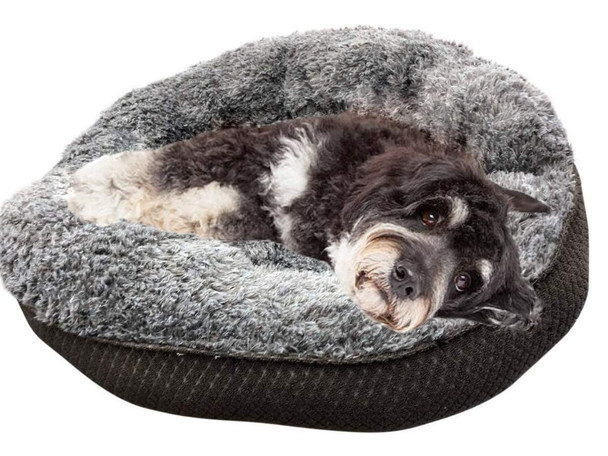 Big Plush American Made Round Dog Bed and Cat Bed, 24 Inches Soft  Yet Tough Charcoal Gray Color  Fabric Premium Pet Bedding