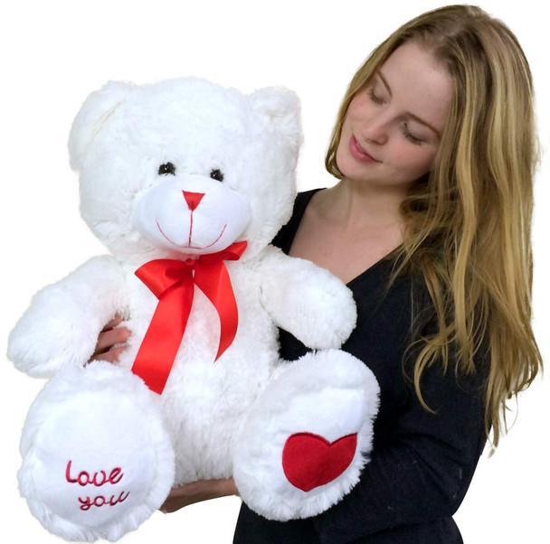 I Love You Soft White Teddy Bear 24 Inches Big Plush Stuffed Valentine Plushie