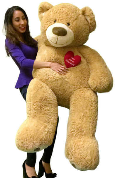 Big Plush Personalized Heart on 5 Foot Giant Teddy Bear, Heart on Chest is Customized with Your Message