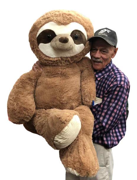 5 Foot Giant Stuffed Sloth 56 Inches Soft 142 cm Big Plush Huge Cuddly Stuffed Animal Beige Color