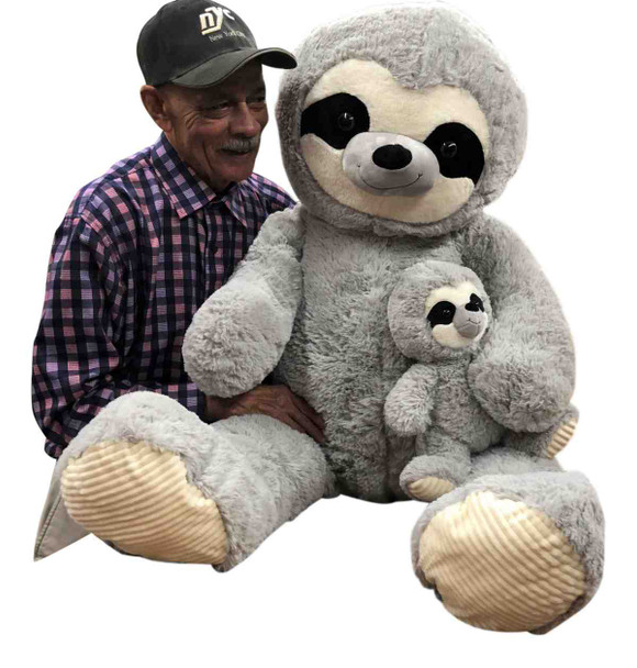 5 Foot Giant Stuffed Sloth with Baby 56 Inches Soft 142 cm Big Plush Huge Cuddly Stuffed Animal Gray Color