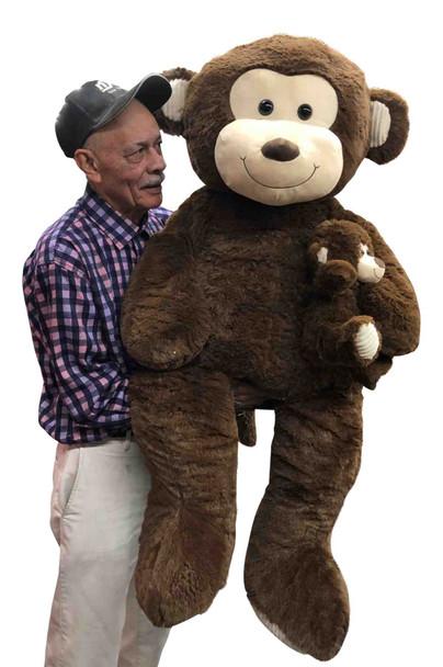 5 Foot Giant Stuffed Monkey 56 Inches Soft 142 cm Big Plush Huge Cuddly Stuffed Animal