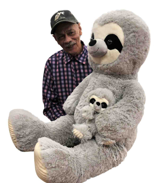 Giant Stuffed Sloth with Baby 44 Inches Soft 112 cm Big Plush Huge Cuddly Stuffed Animal Gray Color