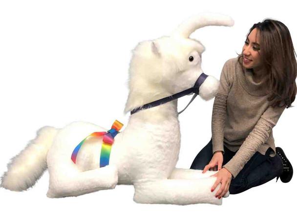 American Made White Giant Stuffed Unicorn Soft 4 Feet Wide, 3 Feet Tall