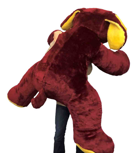 Big Plush American Made Giant Stuffed Puppy Dog 5 Feet Long Squishy Soft Extremely Large Plush Maroon Color