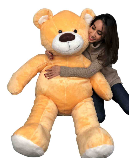 Big Plush American Made Giant Golden Peach Color Teddy Bear Soft 55 Inches Almost 5 Feet Tall