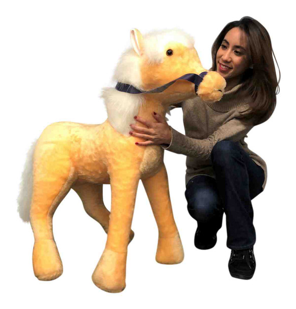 Big Plush American Made Giant Stuffed Pony Gold Color 3 feet tall 3 feet wide Stuffed Horse Made in USA