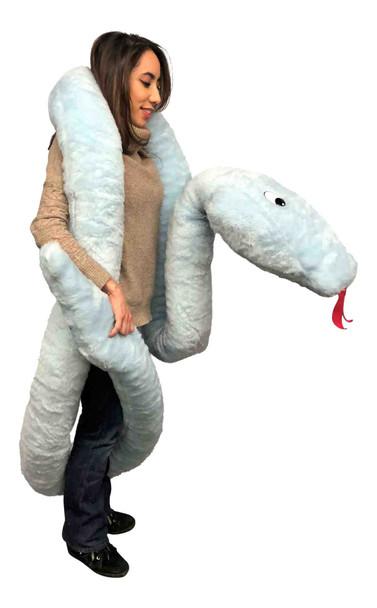 Big Plush American Made Huge Stuffed Snake 18 Feet Long Big Plush Sky Blue Color Serpent Made in USA