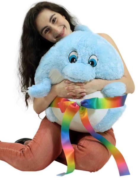 Big Plush Dolphin Smush Ball Soft 24 Inches Soft Stuffed Animal