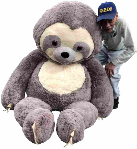 This huge stuffed sloth can sit down for lots of cuddling and hugging.