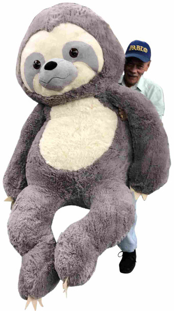 This massive stuffed sloth measures 7 feet tall and weighs over twenty pounds.