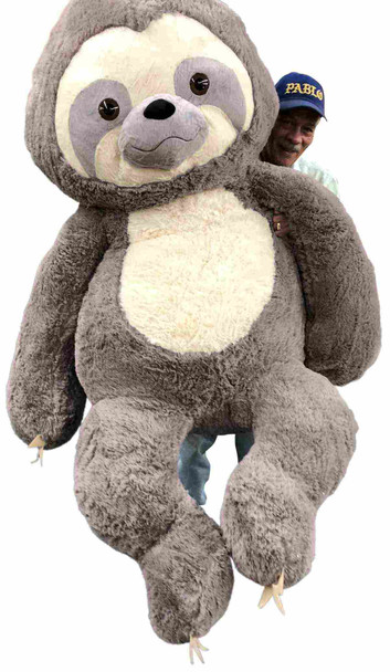 Giant Stuffed Sloth 7 Feet Tall 84 Inches Soft 213 cm Big Plush Huge Stuffed Animal Gray Color