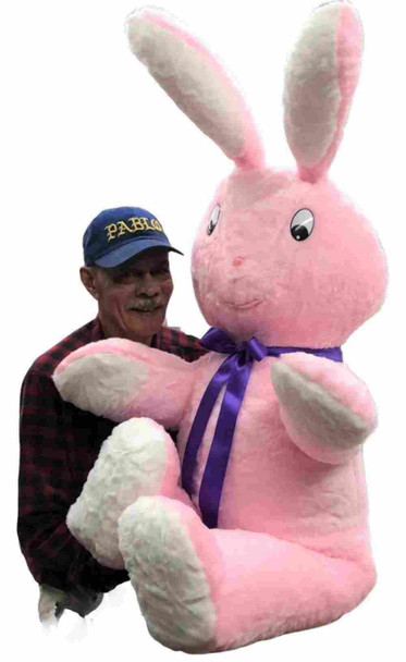 American Made Giant Stuffed Pink Bunny 60 Inch Soft Big Plush 5 Ft Rabbit Made in USA
