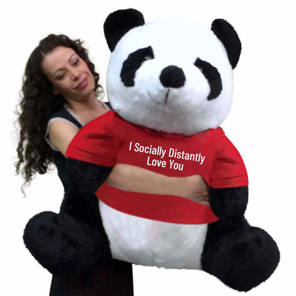 Send this giant stuffed panda as your social distancing gift of love. It wears a removable tshirt that reads I Socially Distantly LOVE You. The shirt can be removed without damaging the stuffed animal.
