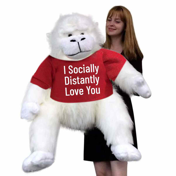 Big Plush® Social Distancing Gift of Love, Giant Stuffed White Gorilla Monkey 40 Inches 101 cm Wears Tshirt I Socially Distantly Love You
