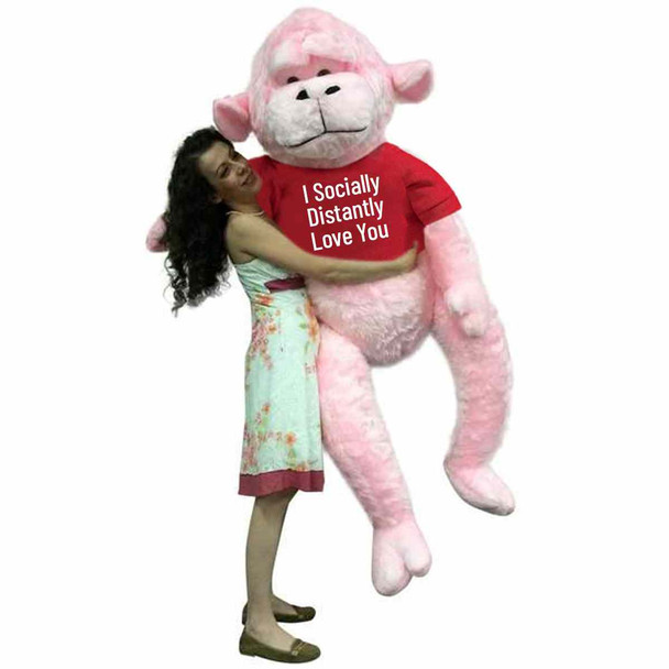 send this social distancing gift of love to someone special. It is a huge, soft and adorable pink color stuffed gorilla that just happens to be wearing a removable tshirt that reads: I Socially Distantly LOVE You.