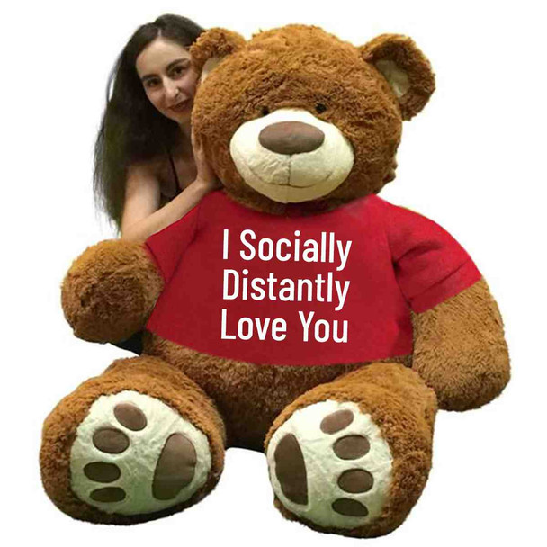 Big Plush® 5 Foot Giant Brown Teddy Bear 60 Inches 152 cm Wears Tshirt I Socially Distantly Love You, Huge Soft Stuffed Animal Made in USA