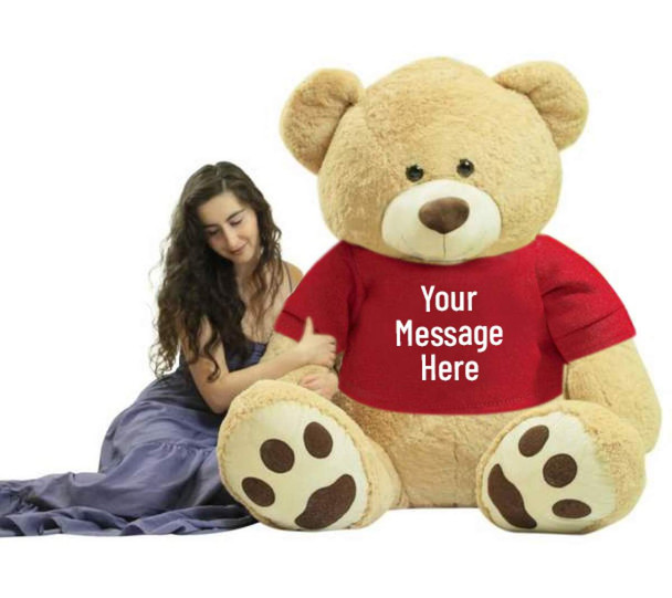 You design the text that is printed on this 6 foot teddy bear's removable red t-shirt.