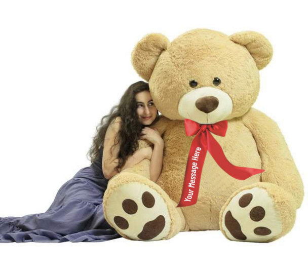 Customized Ribbon around Neck of Big Plush® Giant 6 Foot Teddy Bear Soft wears Personalized  Neck Ribbon that You Design