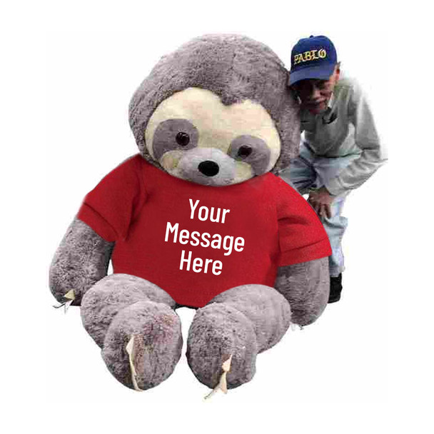 Personalized giant stuffed sloth 7 feet tall wearing a removable red t-shirt with your text on it's shirt