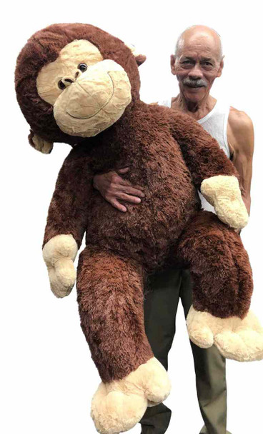Big Plush® Giant Stuffed Monkey 4 Feet Tall Soft Brown Large Plush Animal 48 Inches New
