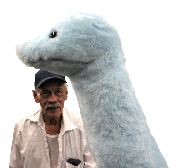Big Plush® brand giant blue color stuffed dinosaur 4 feet long made in the USA - 4