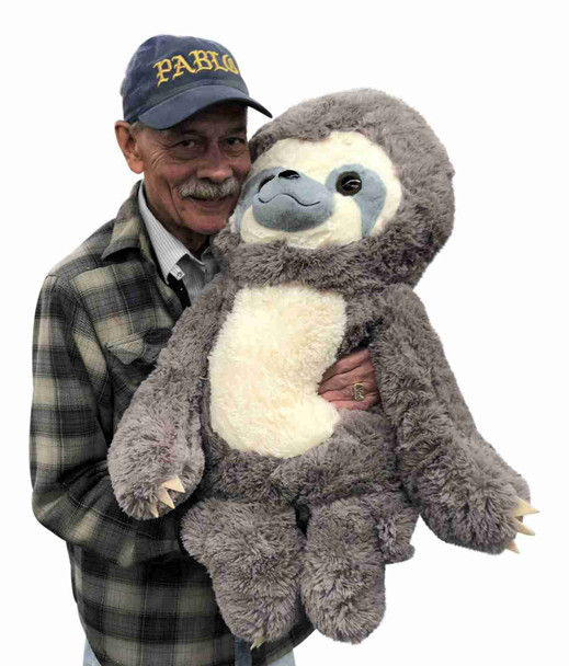 Big Plush® Stuffed Sloth 30 inches Tall Soft 77 cm Big Plush Jumbo Stuffed Animal Gray Color