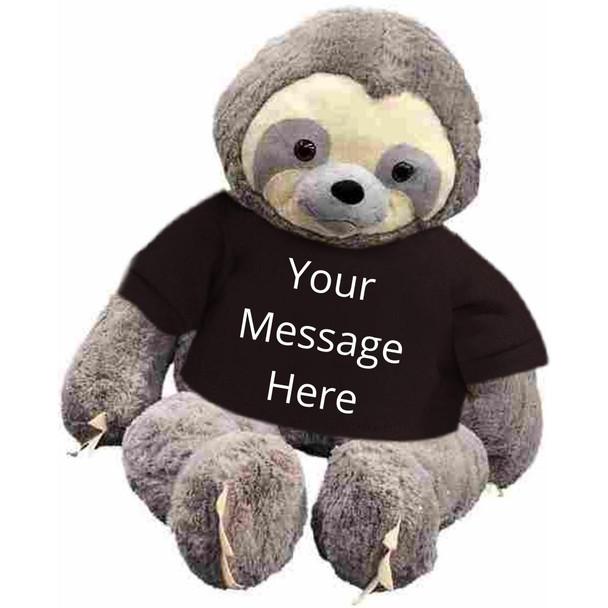 Personalized giant stuffed sloth 7 feet tall wearing a removable black t-shirt with your text on it's shirt