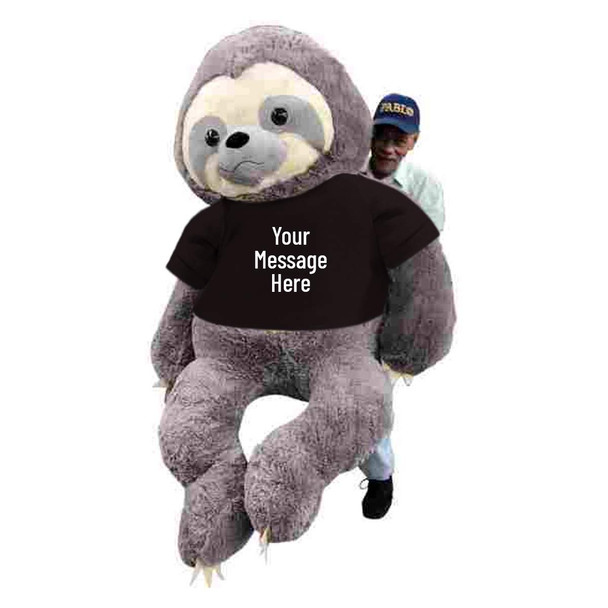You custom design the text on this giant 7 foot stuffed sloth's black t-shirt.