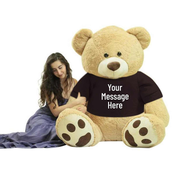 You design the text that is printed on this huge 6 foot teddy bears removable black color t-shirt.