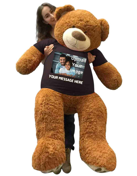 Custom Photo on Big Plush 5 Foot Giant Brown Teddy Bear - Upload Personalized Photo onto T-shirt - Bear Wears Customized Black T-Shirt with Your Photo and Text