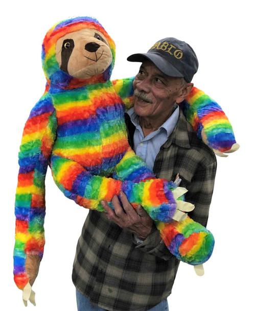 3ft Huge Stuffed Sloth Rainbow Color 36 inches Soft 91 cm Big Plush Jumbo Stuffed Animal