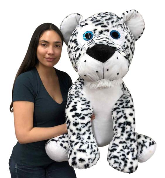 Giant stuffed Snow Leopard large wild cat measures three feet tall