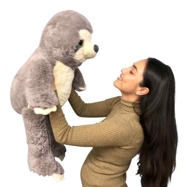 Extra Large Stuffed Sloth 3 Feet Tall 36 Inches Soft 91 cm Big Plush Jumbo Stuffed Animal Gray Color
