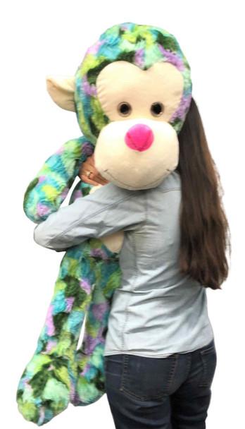Big Stuffed Monkey 40 inches 102 cm Soft  Aqua Green Purple Teal Multicolor Large Plush Animal 3.5 Feet Tall New