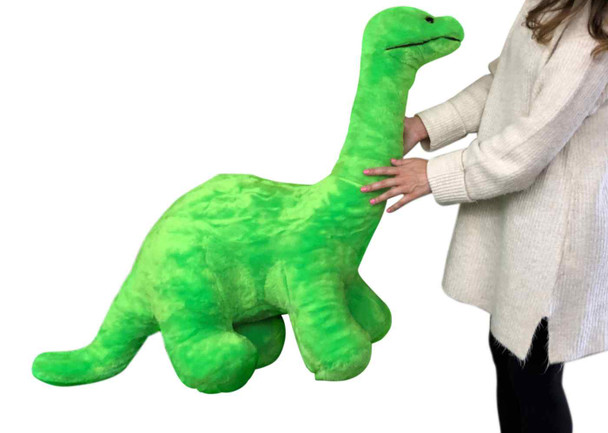 American Made Giant Stuffed Green Dinosaur Soft Plush Brontosaurus 48 inches wide 30 inches tall Made in the USA