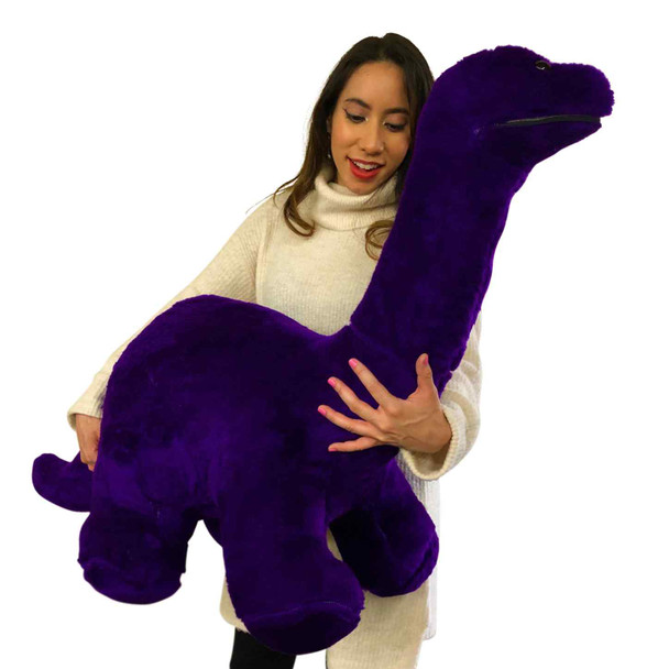American Made Giant Stuffed Purple Dinosaur Soft Plush Brontosaurus 48 inches wide 30 inches tall Made in the USA
