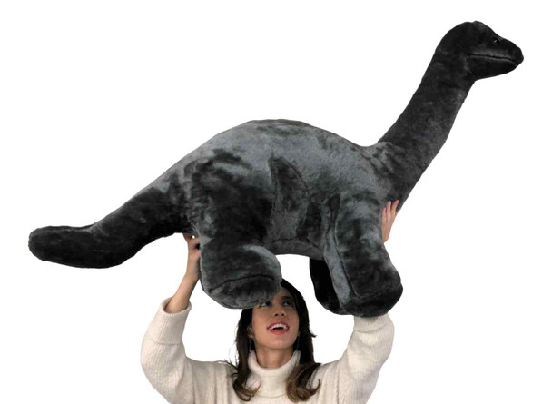 American Made Giant Stuffed Gray Dinosaur Soft Plush Brontosaurus 48 inches wide 30 inches tall Made in the USA