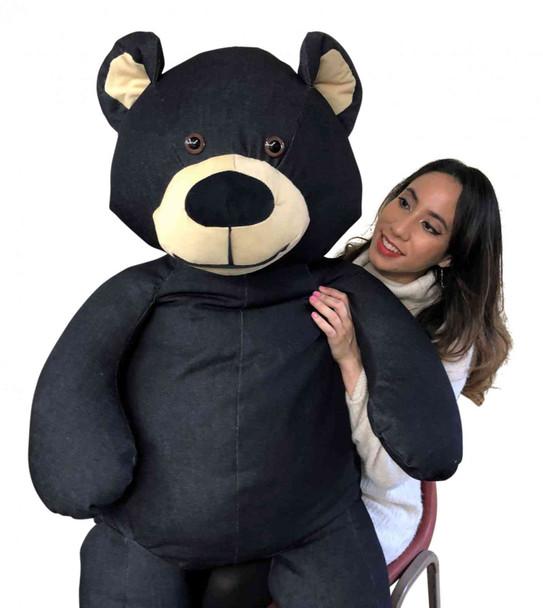 Giant denim teddy bear 5 feet tall made in the USA by Big Plush