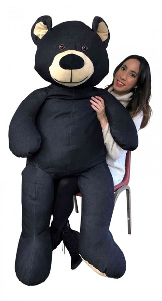 American Made Giant Denim  Teddy Bear Soft 60 Inches 5 Feet Tall, Huge Plushie created with Blue Jeans Dungarees Fabric weighs 20 Pounds Made in the USA