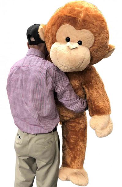 Big Plush® Giant Stuffed Monkey 54 inches Soft Honey Brown Large Plush Animal 4 and a half feet Tall New