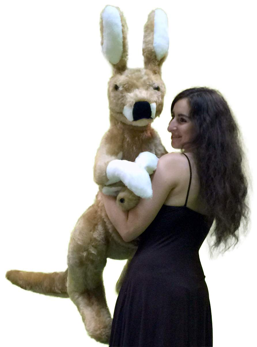 American Made Big Stuffed Kangaroo 42 Inches Tall With Baby In Pouch