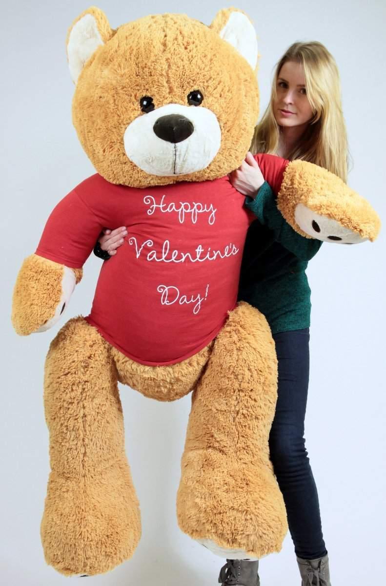 Big Plush Giant Valentine Teddy Bear Five Feet Tall Honey Brown