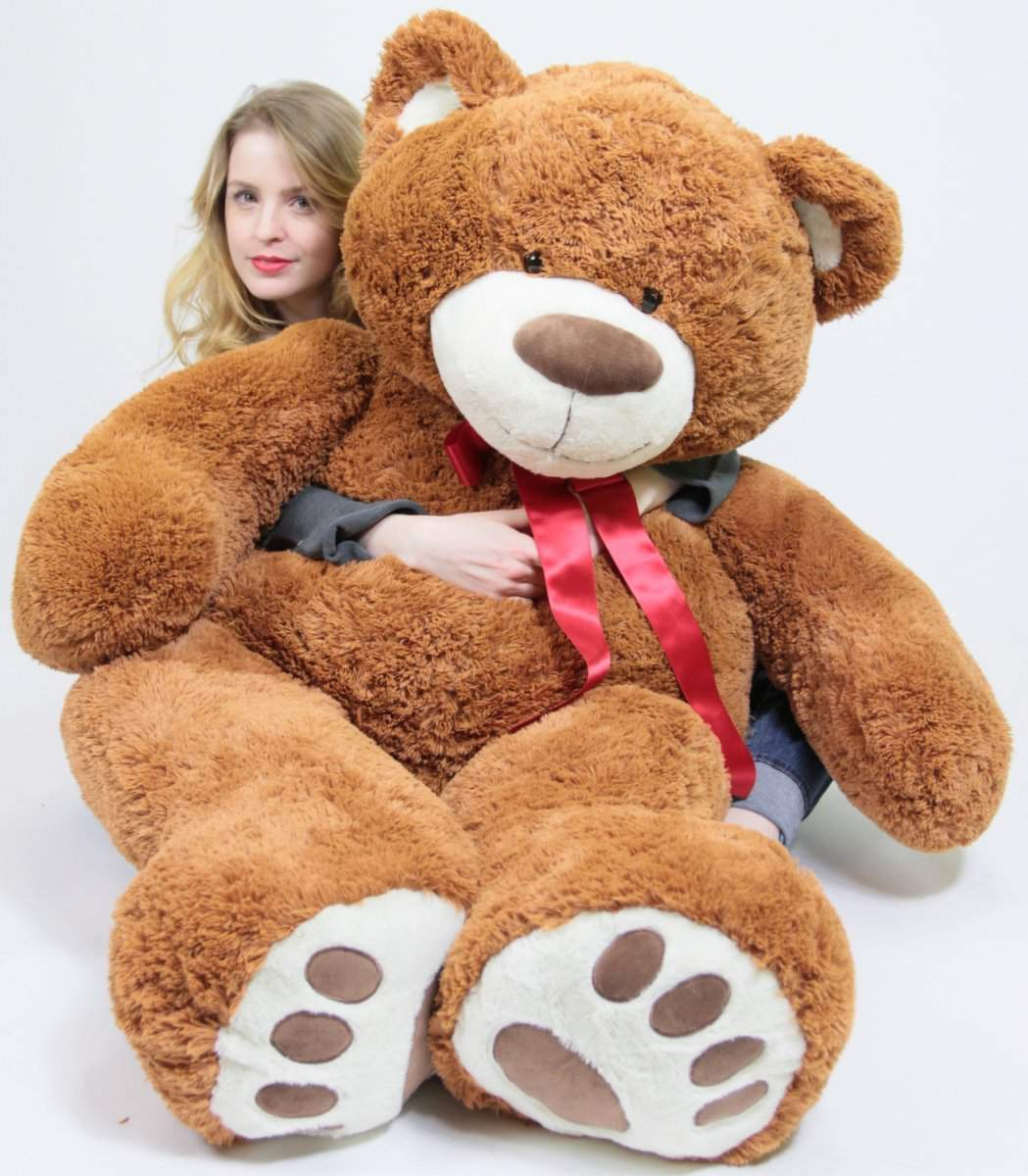 184557f2105 5 Foot Very Big Smiling Teddy Bear 60 Inch Soft Brown Giant Stuffed Animal  with Bigfoot ...