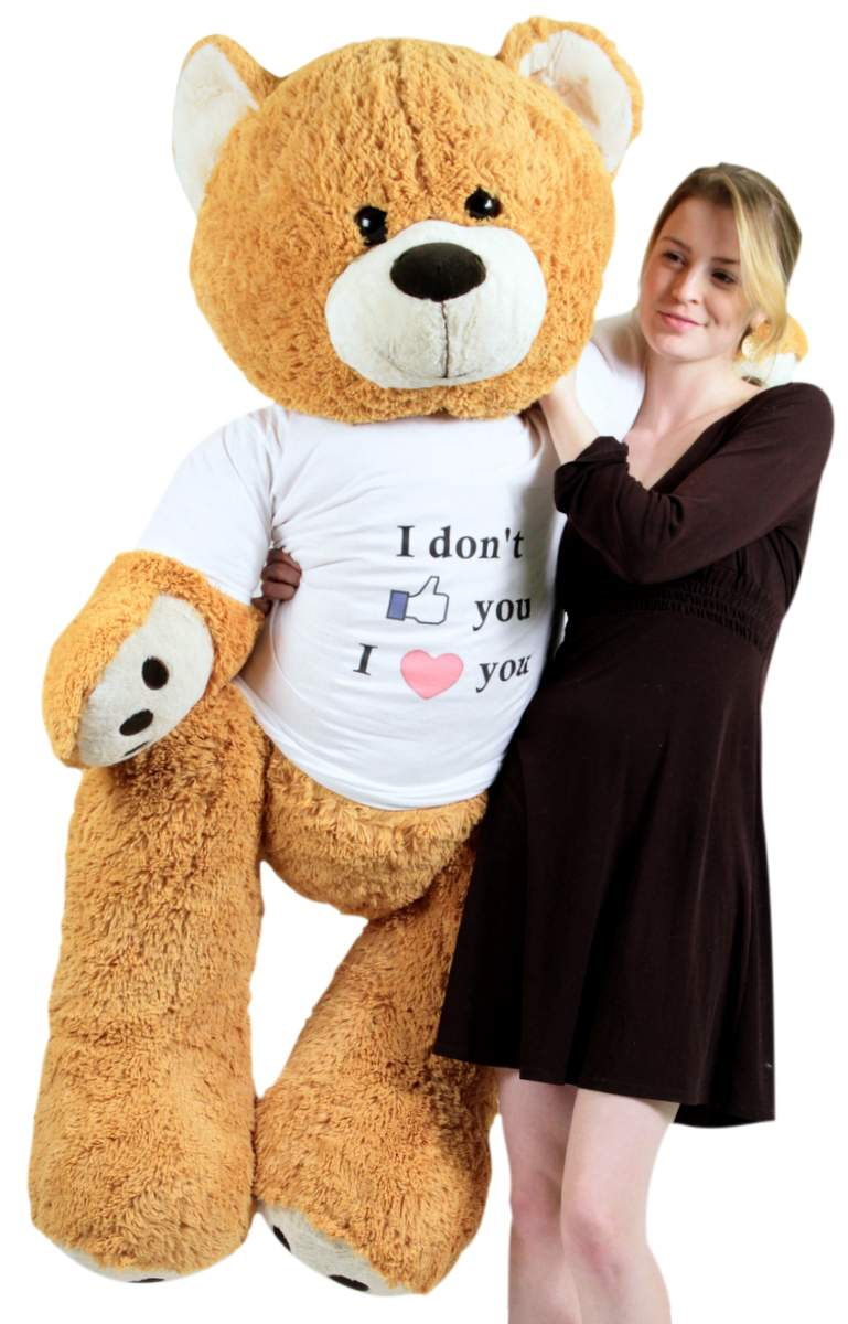 Big Plush Giant Love Teddy Bear 55 Inches Honey Brown Color Wears Tshirt That Says I Dont Like You I Love You