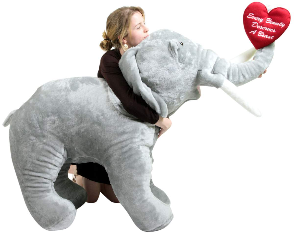 Giant Stuffed Love Elephant 48 Inch Holds Embroidered Heart Every
