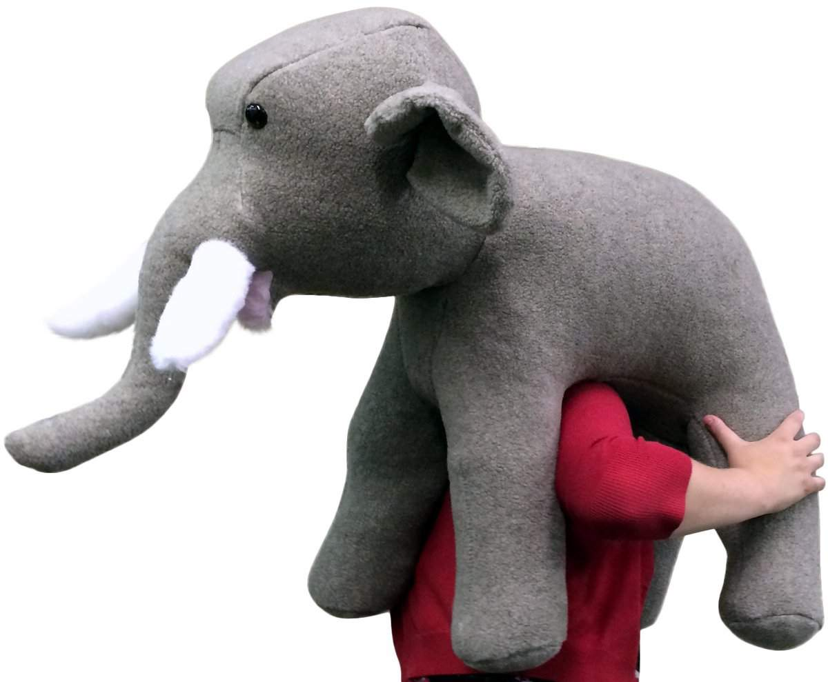 American Made Oversized Stuffed Elephant 36 Inch Gray Soft Large